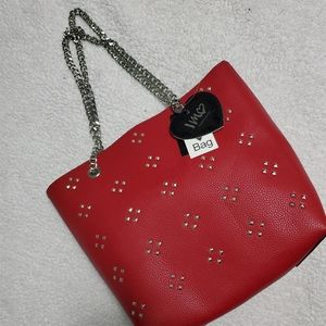 Red casual tote bag